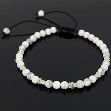 Howlite Men's Braided Bracelet Healing Reiki Crown Chakra Stones Handmade Silver