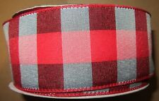 """Lot of 5 Yards Wire Edge Ribbon 2 1/2"""" wide Red Gray Black Buffalo Plaid Rustic"""