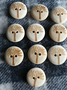 10 natural 20mm carved tree wooden sewing coat craft knitting buttons 2 hole