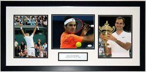 Roger Feder Autographed Wimbledon 3 8x10 Photo Set JSA COA Framed & GOAT Plate