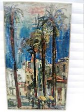 """SOURDILLON Berthe (1895-1976) """"Les palmiers d'Antibes""""  Huile / toile marouflée"""