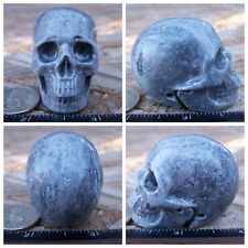 "1.95"" Chinese Crazy Lace Skull Carved Stone 3.4oz 97g Crystal Healing Realistic"