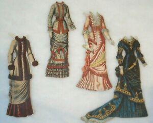 Antique 1890's four Paper Doll Dresses  McLoughlin Bros?