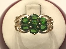 10k Yellow Gold Oval Chrome Diopside Cluster Ring Signed JCR Size 6 1/4 2.5 Gram