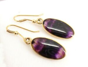 Stunning Quality 9ct Gold Blue John Drop Earrings. Super condition, NICE1