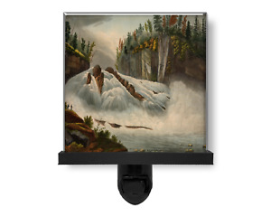 Hadley's Falls Hudson River Vintage Style Nature Art Glass Photo Night Light