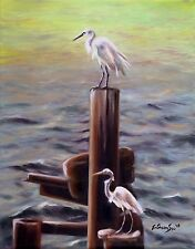 Original Oil Painting of Snowy Egret - Fishing Buddies, 8x10in, Framed, Signed