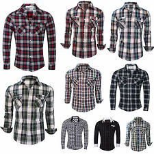 Mens Long Sleeve Branded Slim Fit Check Print Smart Cotton Work Shirts S-XL