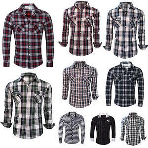 Mens Long Sleeve Branded Slim Fit Check Print Smart Cotton Work Shirts S-XL