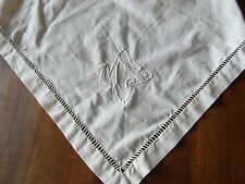 recup ANCIEN triangle de toile metis broderie main monograme jours@OLD