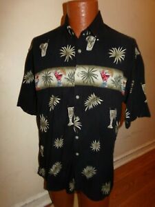 Pierre Cardin Button Up Shirt Men's Large Hawaiian Leaves and Glasses.