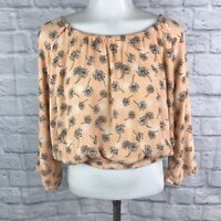 Free Bird Women's Small Crop Top Orange Floral Open Back
