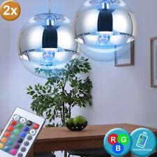 Ensemble de 2 lampes suspendues LED RGB télécommande boules de verre dimmable