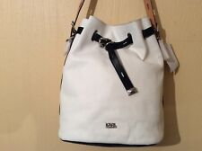 BNWT KARL LAGERFELD White/Black/Beige Drawstring Shoulder Bag in REAL  LEATHER
