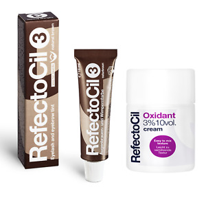 Refectocil Eyebrow Brown Tint or + Oxidant Cream Developer Eyelash Dye KIT UK