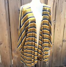Lularoe Lindsay Mustard Yellow Stripe Open Front Knit Unicorn Cardigan Large NEW