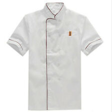 Unisex Short Sleeve Chef Coat Jacket Tops Restaurant Kitchen Cook Work Uniform