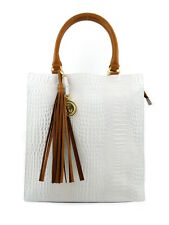 CROC EFFECT WHITE LEATHER TOTE COGNAC TRIM AND TASSEL DFV LARGE