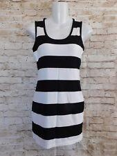 Piko Womens Dress Small & Medium Black & White Stripe Knee Length Rayon Sleevles
