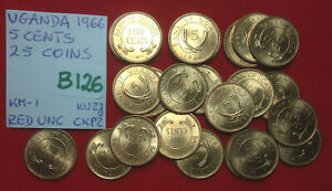 B126 Uganda; 25 Coins Lot from Mint Bag - 5 Cents 1966  Red UNC