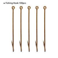 100 Pcs Fishing Hooks Jig Big Hook High Carbon Steel Bait Holder Fishhook