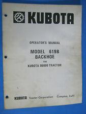 Kubota B6000 Tractor Backhoe 619b Owners Manual Oem Factory