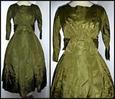 VINTAGE 40S 1940S FULL TAFFETA SWING DRESS UK 8 10 WWII ROCKABILLY WARTIME
