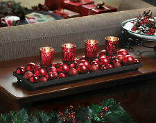 WINTER SALE Christmas Red Merry Candle Display Candleholder Table Centerpiece