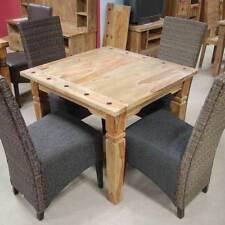 Esstisch 90x90 BOMBAY Tisch massiv Sheesham natur mit Ansteckplatten Wolf Möbel
