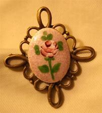 Rose Greenery Brasstone Brooch Pin Dainty Openwork Swirled Loop Violet Enameled