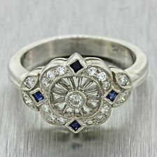 Vintage Estate 14k Solid White Gold .30ctw Diamond Sapphire Cluster Ring