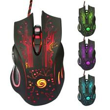Gaming Wired Mouse 5500DPI USB 6 Buttons LED Backlit Light PC Laptop Computer US