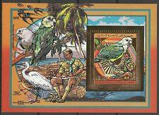 Comores Oiseaux Inseparables Parrots Birds Vogel ** 1989 Bloc Or Inconnu Gold