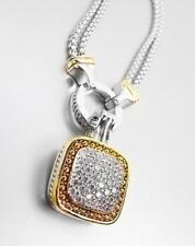 EXQUISITE Square Gold Dots Silver Pave CZ Crystals Cable Pendant Chains Necklace