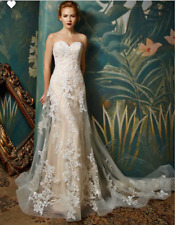 vintage A Line Sweetheart Wedding dress illusion back Lace Appliques Bridal Gown