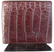 Genuine Real Belly Crocodile Alligator Skin Leather Man Bifold Dark Brown Wallet