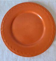 Vintage Orange Stoneware Pottery 10-Inch Dinner Plate Embossed Wavy Zigzag Lines