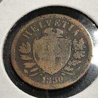1850-A SWITZERLAND 2 RAPPEN BRONZE COIN