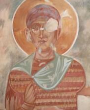 VINTAGE RELIGIOUS PORTRAIT GOUACHE PAINTING SAINT
