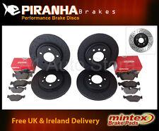 Alfa 147 1.9JTDM 05-09 Front Rear Brake Discs Black DimpledGrooved Mintex Pads