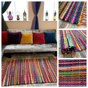 FESTIVAL Multi Colour RAG RUG Cotton Small Medium Large Rectangle Square Runner