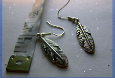 Santa Fe Silvered Feather Earrings on 925 Silver French Hooks