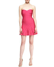 HOT Herve Leger Arlene Strapless Scallop Pleated Pink Bandage Dress $1200+tax!