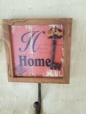 HOME   hook hanger WITH KEY  WOOD NEW