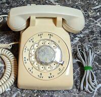 AT&T Cream Tan Rotary Dial Desk Phone 500DM Vintage