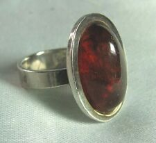 925 Sterling Silver & Amber Handmade Ring 7.5 grams size 6 3/4