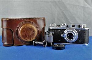 Zorki-1 Type C Vintage 1953 Soviet Rangefinder Camera & 50mm Lens, Case & Cap