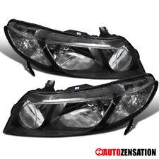 Fits 2006-2011 Honda Civic 4Dr Sedan Pair Black Headlights Head Lamps