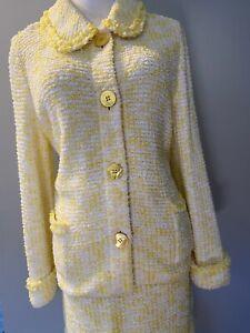 ESCADA  Sunny Yellow & White , Cotton Blend SKIRT SUIT, size  42  M