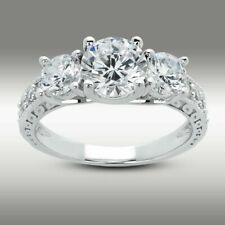 2.61 Ct Round cut Three Stone Engagement Ring 14K White Gold Vintage Ring